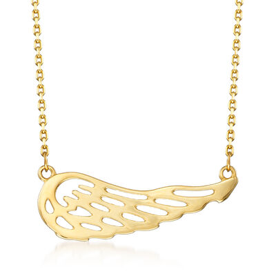 Cut-Out Wing Station Necklace in 14kt Yellow Gold, , default