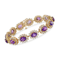 "C. 1980 Vintage 17.55 ct. t.w. Amethyst and 9.75 ct. t.w. Diamond Bracelet in 14kt Yellow Gold. 7.25"", , default"