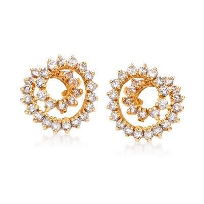 C. 1970 Vintage 1.70 ct. t.w. Diamond Swirl Clip-On Earrings in 14kt Yellow Gold