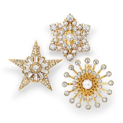 Joanna Buchanan Set of 3 Crystal Star Clips, , default