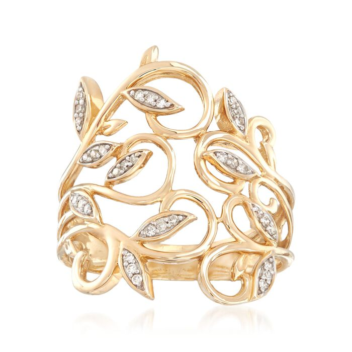 .10 ct. t.w. Diamond Leaf Ring in 14kt Yellow Gold
