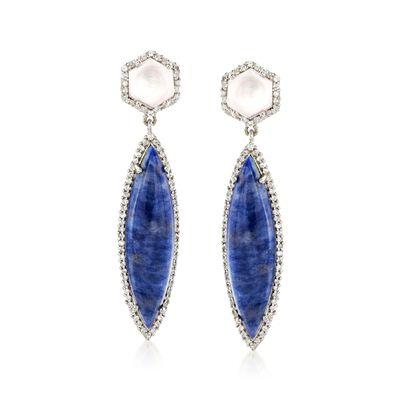 Blue Aventurine Drop Earrings with Mixed Gemstones in Sterling Silver, , default