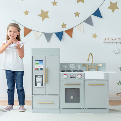 Child's Little Chef Chelsea Modern Play Kitchen in Gray