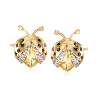 .15 ct. t.w. Black and White Diamond Ladybug Earrings in 14kt Yellow Gold, , default