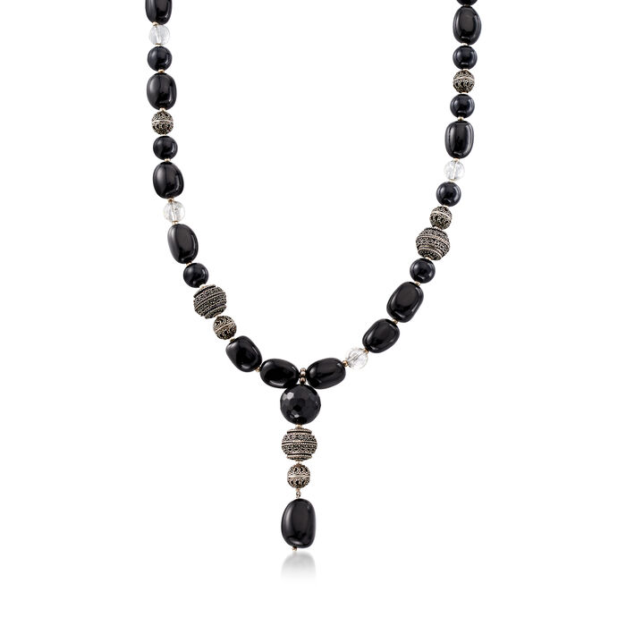 C. 1990 Vintage Black Onyx and Rock Crystal Bead Necklace with Sterling Silver