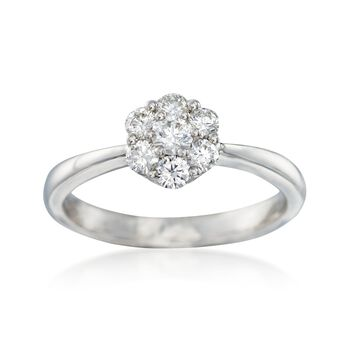 C. 2000 Vintage .50 ct. t.w. Diamond Cluster Ring in 18kt White Gold. Size 6.5, , default