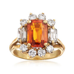 """C. 1980 Vintage 3.30 Carat Brown Sapphire and 1.45 ct. t.w. Diamond Ring in 14kt Yellow Gold. 6"""", , default"""