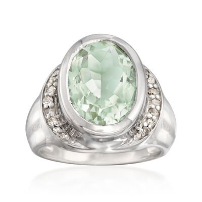 5.25 Carat Green Prasiolite and .18 ct. t.w. Diamond Ring in Sterling Silver, , default