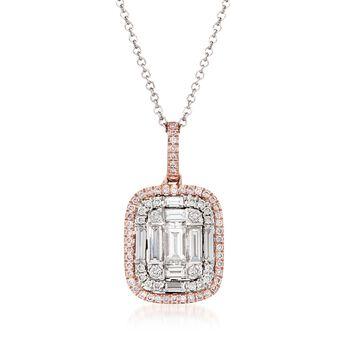 "Simon G. .78 ct. t.w. Diamond Pendant Necklace in 18kt Two-Tone Gold. 17"", , default"