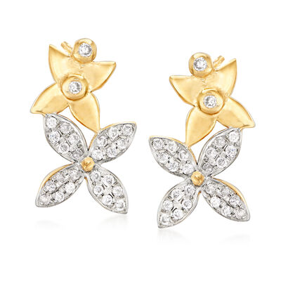 .32 ct. t.w. Diamond Double-Flower Drop Earrings in 18kt Gold Over Sterling