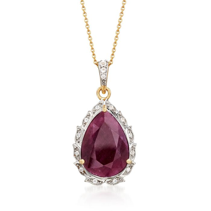 "9.75 Carat Pear-Shaped Ruby and .16 ct. t.w. White Topaz Pendant Necklace in 18kt Gold Over Sterling. 18"", , default"