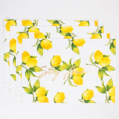 Set of 4 Lemon-Print Placemats, , default