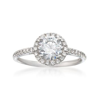 Simon G .36 ct. t.w. Diamond Halo Engagement Ring Setting in 18kt White Gold, , default