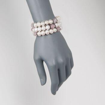 9-10mm Cultured Pearl and Rose Quartz Jewlery Set: Three Stretch Bracelets with Purple CZs. Size 7.5