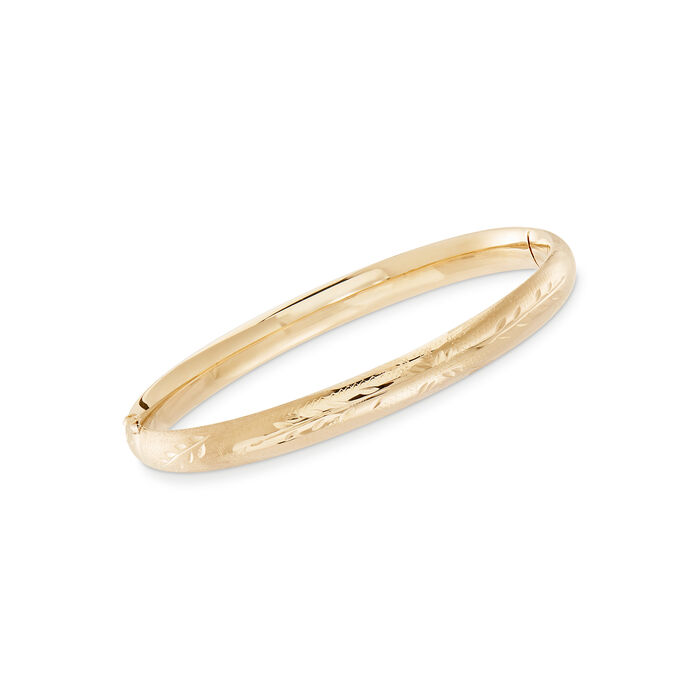 """Baby's 14kt Yellow Gold Floral Bangle Bracelet. 5.5"""""""