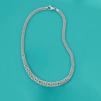 Italian Sterling Silver Byzantine Necklace, , default