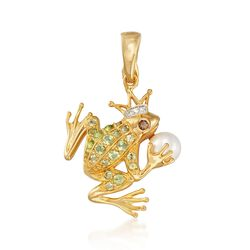 5.5-6mm Cultured Akoya Pearl and Multi-Stone Frog Prince Pendant in 18kt Gold Over Sterling, , default