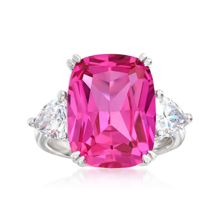 12.50 Carat Pink CZ and 1.50 ct. t.w. CZ Ring in Sterling Silver, , default