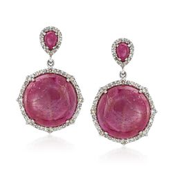 31.50 ct. t.w. Ruby and 1.05 ct. t.w. Diamond Drop Earrings in Sterling Silver, , default