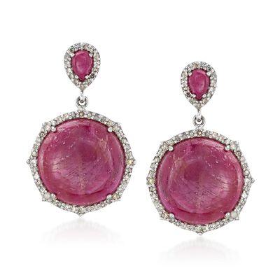 31.50 ct. t.w. Ruby and 1.05 ct. t.w. Diamond Drop Earrings in Sterling Silver, , default