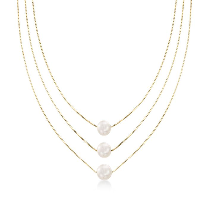 9-9.5mm Cultured Pearl Three-Strand Layered Necklace in 18kt Gold Over Sterling, , default