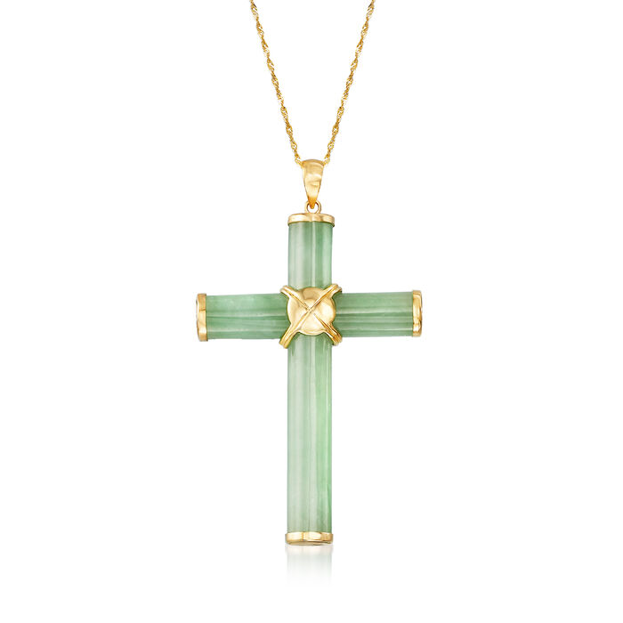 Green Jade Cross Pendant Necklace in 14kt Yellow Gold