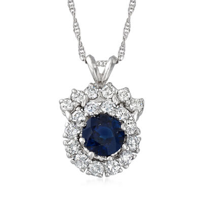 C. 1980 Vintage 1.75 Carat Sapphire and 1.20 ct. t.w. Diamond Pendant Necklace in 14kt White Gold