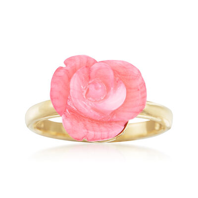 Carved Pink Coral Rose Ring in 14kt Gold Over Sterling, , default