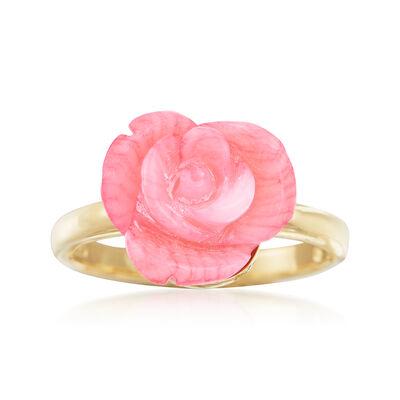 Carved Pink Coral Rose Ring in 14kt Gold Over Sterling, , default