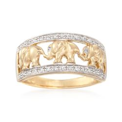 .20 ct. t.w. Diamond Elephant Motif Ring in 14kt Yellow Gold, , default