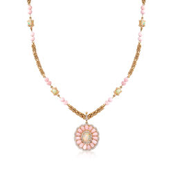 Pink and White Opal and 1.60 ct. t.w. White Zircon Floral Pendant Necklace in 18kt Gold Over Sterling, , default