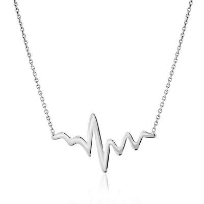 14kt White Gold Heartbeat Necklace, , default