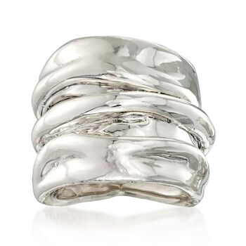 Sterling Silver Crimped Ring, , default