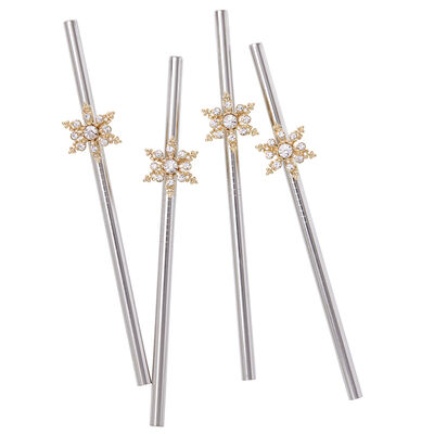 Joanna Buchanan Set of 4 Snowflake Stainless Steel Straws