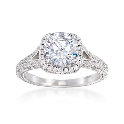 .90 ct. t.w. Diamond Halo Engagement Ring Setting in 14kt White Gold, , default
