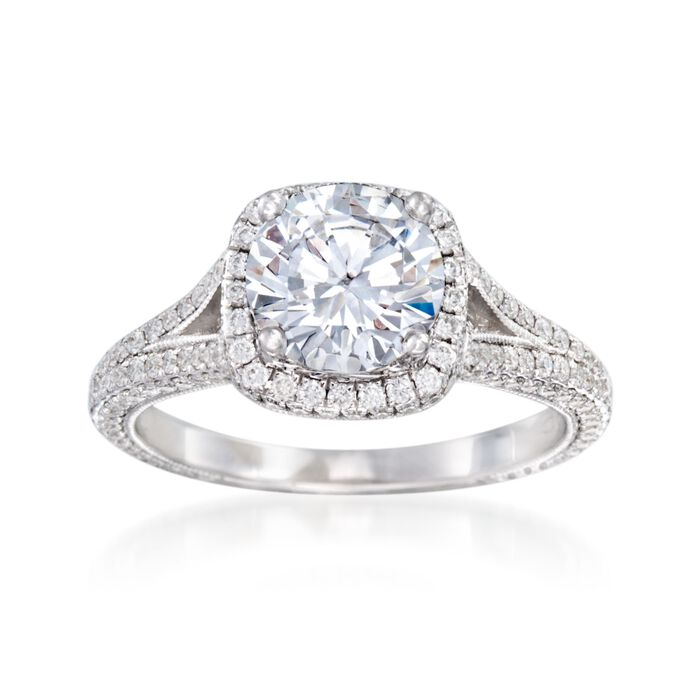 .90 ct. t.w. Diamond Halo Engagement Ring Setting in 14kt White Gold
