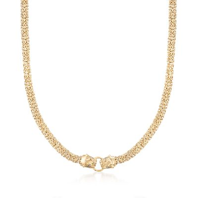 14kt Yellow Gold Double Panther Head Byzantine Necklace with Diamond Accents, , default