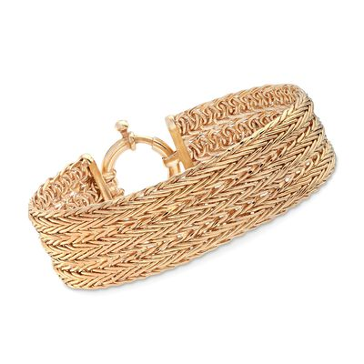 18kt Yellow Gold Over Sterling Silver Multi-Row Wheat Chain Bracelet, , default
