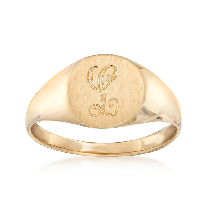 14kt Yellow Gold Single Initial Round Signet Ring
