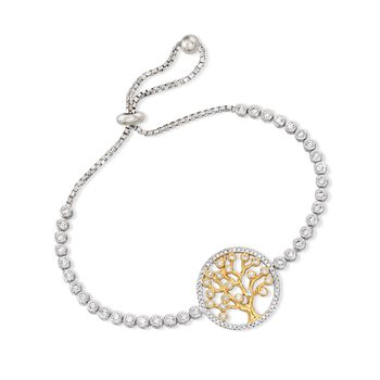 1.50 ct. t.w. CZ Tree of Life Bolo Bracelet in Two-Tone Sterling Silver, , default