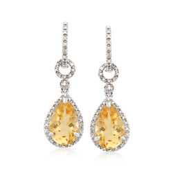 T W Citrine And 13 Ct Diamond Drop Earrings In Sterling