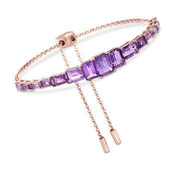 7.30 ct. t.w. Amethyst Bolo Bracelet in 18kt Rose Gold Over Sterling Silver , , default