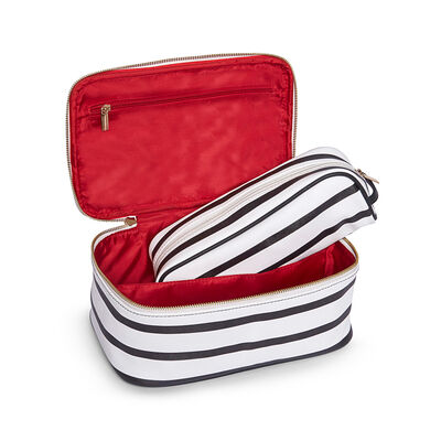 """Brouk & Co. """"Mia"""" Black and White Striped Faux Leather Cosmetic Bag, , default"""