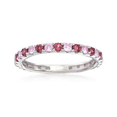 .60 ct. t.w. Rhodolite and  .50 ct. t.w. Pink Sapphire Eternity Ring in Sterling Silver, , default