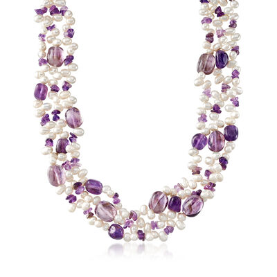 Cultured Pearl and 217.75 ct. t.w. Amethyst Three-Row Necklace With Sterling Silver, , default