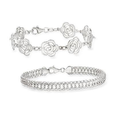 Sterling Silver Jewelry Set: Two Link Bracelets