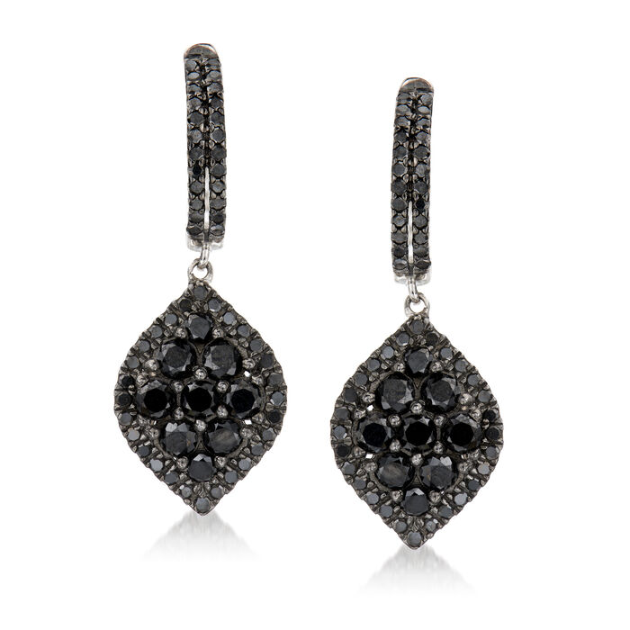 1.75 ct. t.w. Black Diamond Hoop Drop Earrings in Sterling Silver