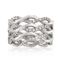 .50 ct. t.w. Diamond Three-Row Twisted Eternity Band in Sterling Silver, , default