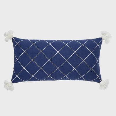 Joanna Buchanan Indigo and Cream Linen Tassel Pillow