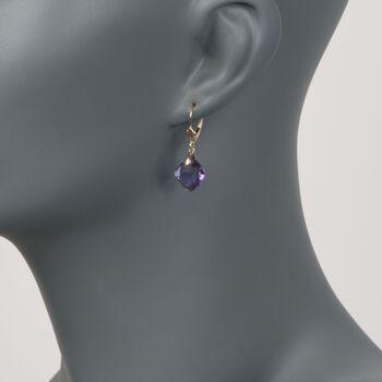 7.50 ct. t.w. Amethyst Drop Earrings in 14kt Yellow Gold , , default